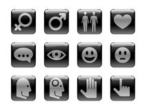 Icon set on the Human Theme. Black and white pictograms on the theme of a human activity. I've used my own designed symbols/pictograms royalty free illustration