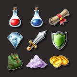 Icon set illustration for fantasy adventure game. Icon set for fantasy adventure game, including potions, gold, shield, backpack and sword. Vector illustration Royalty Free Stock Photo