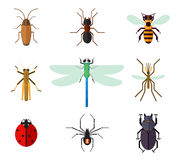 Icon set of insects in flat style Stock Photo