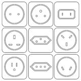 Icon Set of international electric sockets Stock Photo