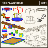 Icon set. Set of isolated playground equipment. Vector illustration Royalty Free Stock Photography