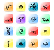Icon set kids drawings. Colorful and stylized icon set Stock Images