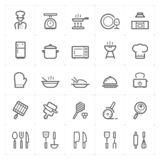 Icon set - kitchen utensils and cooking outline stroke stock illustration