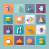 Icon Set  of kitchen ware kitchen ware -illustration. Kitchen ware Flat icons Food icons kitchen Utensil with shadow Stock Photography