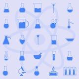 Icon set of laboratory glassware. Vector image Royalty Free Stock Photos
