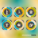 Icon set with landmarks and attraction Royalty Free Stock Photo