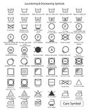 Icon set of laundry symbols. Support web design and background Royalty Free Stock Photography