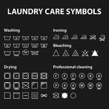 Icon set of laundry symbols. Washing instruction symbols. Cloth, Textile Care signs collection Stock Photo