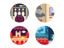 Icon set leisure and entertainment. Icon set leisure entertainment. Bowling and theater, cinema and museum. Vector illustration. Pixel perfect icons size - 128 Royalty Free Stock Photos