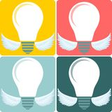 Icon Set light bulb lamp as emblem or logo, vector Stock Photography