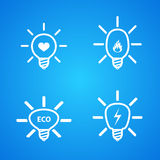Icon set of light bulbs Royalty Free Stock Image