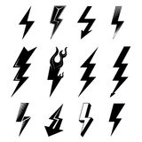 Icon set of lightnings in black-and-white colors Stock Image
