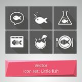 Icon set: Little fish. Several icons with a small fish in a flat style Royalty Free Stock Image