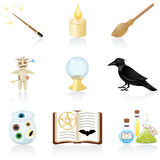 Icon set Magic. Set with equipment for magic Stock Image