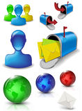 Social media web mail icons. Icon set for mail box social media and web Stock Images