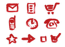 Icon set. Mail, Cart, Clock, Phone. Icon set for web site. Mail, File or Data or Document, Shopping Cart, Mobile phone, Clock, Old Style Phone, Favorites, Arrow Royalty Free Stock Images