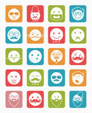 Icon set 20 man`s faces color square Royalty Free Stock Images