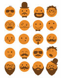 Icon set 20 man`s faces orange Stock Images
