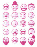 Icon set 20 man`s faces pink half Royalty Free Stock Photography