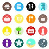 Icon set for mapping. 16 icons for mapping. circle flat style design Stock Illustration