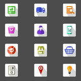 Icon set for marketing planning flat design icons. Set of 12 square flat design icons for marketing planning , analysis, e commerce, delivery, online shopping Stock Image