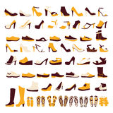 Icon set of men's  and of women's shoes Stock Photography
