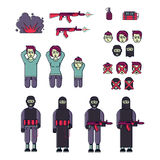 Icon set of men, women terrorist and victim vector Royalty Free Stock Photo