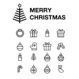 Icon set Merry Christmas greeting card with holiday elements on white background. Icon set Merry Christmas greeting card with sock, wreath, garland, gift, box Royalty Free Stock Photos