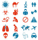 Icon set of Mers virus Stock Photography