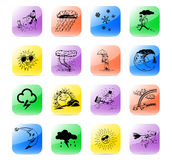 Icon set meteo. Colorful and stylized meteo icon set Stock Images