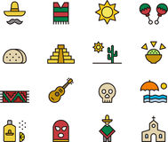 Icon Set of Mexican Symbols Stock Images