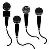Set of microphones black silhouette  illustration isolated on white background Royalty Free Stock Image