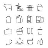 Icon set milk, dairy products. Royalty Free Stock Photo