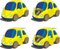 Icon set - mini cars. Miniature car. In different positions Stock Image