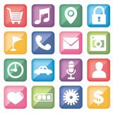 Icon set for mobile application · Square shape royalty free illustration