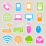 Icon set of mobile devices , computer and network  Stock Photo
