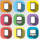 Icon set of mobile,tablet device for communication Royalty Free Stock Photos