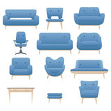 Icon set of modern furniture chair armchair and sofa. Home interior design. Vector. Stock Photography