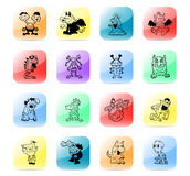 Icon set monsters. Colorful and stylized icon set Stock Image
