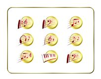 Icon Set, Music - Golden-Red Stock Image