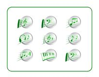 Icon Set, Music - Green-Silver Royalty Free Stock Photography