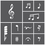 Icon set of musical notes Stock Image