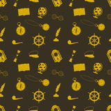 Icon set in a nautical style globe, anchor, compass and other things Royalty Free Stock Photography