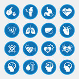 Icon set of obesity related diseases and prevention Royalty Free Stock Photos