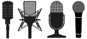 Icon Set Of Microphones Black Silhouette Stock Image