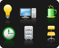 Icon set Office 5.2. Black background Stock Photo