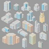 Icon set ofice, apartment buildings. Vector isometric city  infrastructure architecture map generator. Icon set ofice, apartment buildings. 3d elements Royalty Free Stock Photos