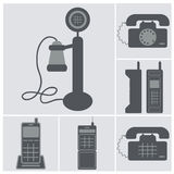 Icon set of old phones, wired and cell phones Stock Images