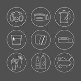 Icon set painter's equipments. Collection of liner icons represent painter equipments: solvent, polish, compressor, gloves, coating, scotch tape, mix, paint Royalty Free Stock Images
