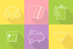 Icon set painter's equipments. Collection of liner icons represent painter equipments. Symbols  on colorful background. Flat design vector Stock Photography